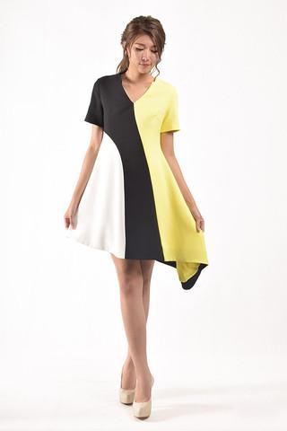Saniya Sleeves Dress in Yellow / Blue