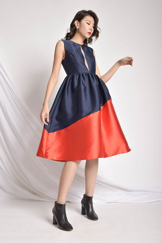 Dseva Two-Toned Flared Dress