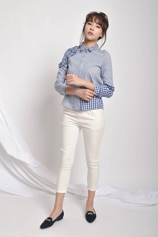 Elyie Ruffle-Trim Contrast-Panelled Shirt