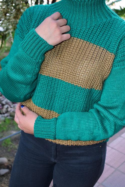 Suéter Rayas Combinado Verde y Dorado.