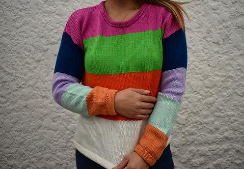 Suéter con Franjas Multicolor