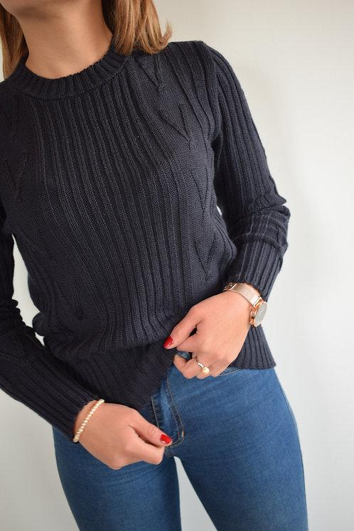 Suéter con Combinacion de Tejidos.