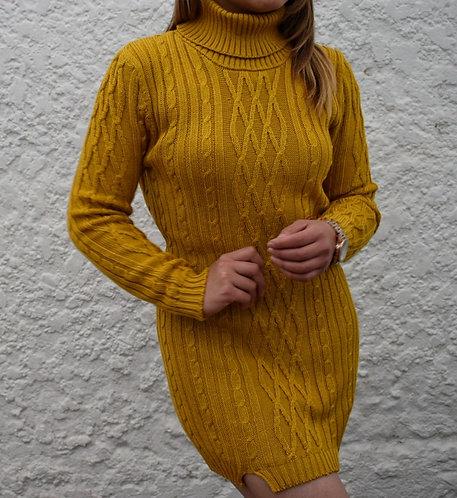 Vestido Trenzado Mostaza