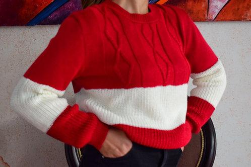 Suéter Combinado Trenzado