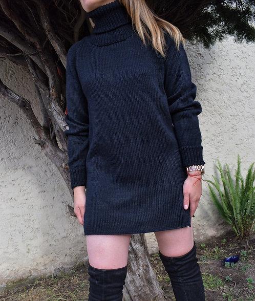 Vestido Negro Cuello Tortuga