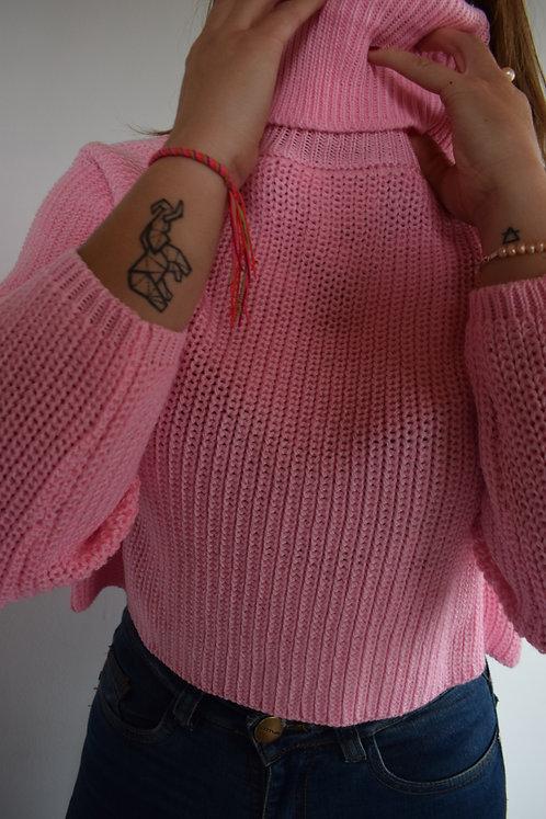 Suéter corto a la cintura con cuello tortuga