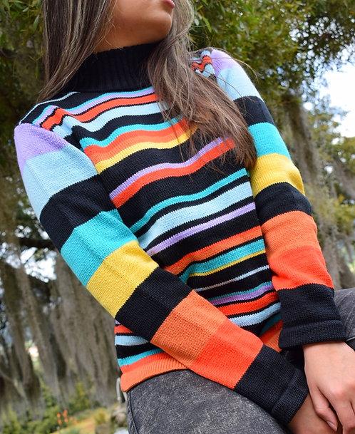 Suéter Combinado con Franjas