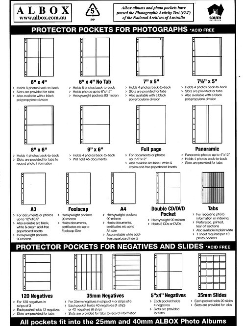 8x6 Photo Sleeves