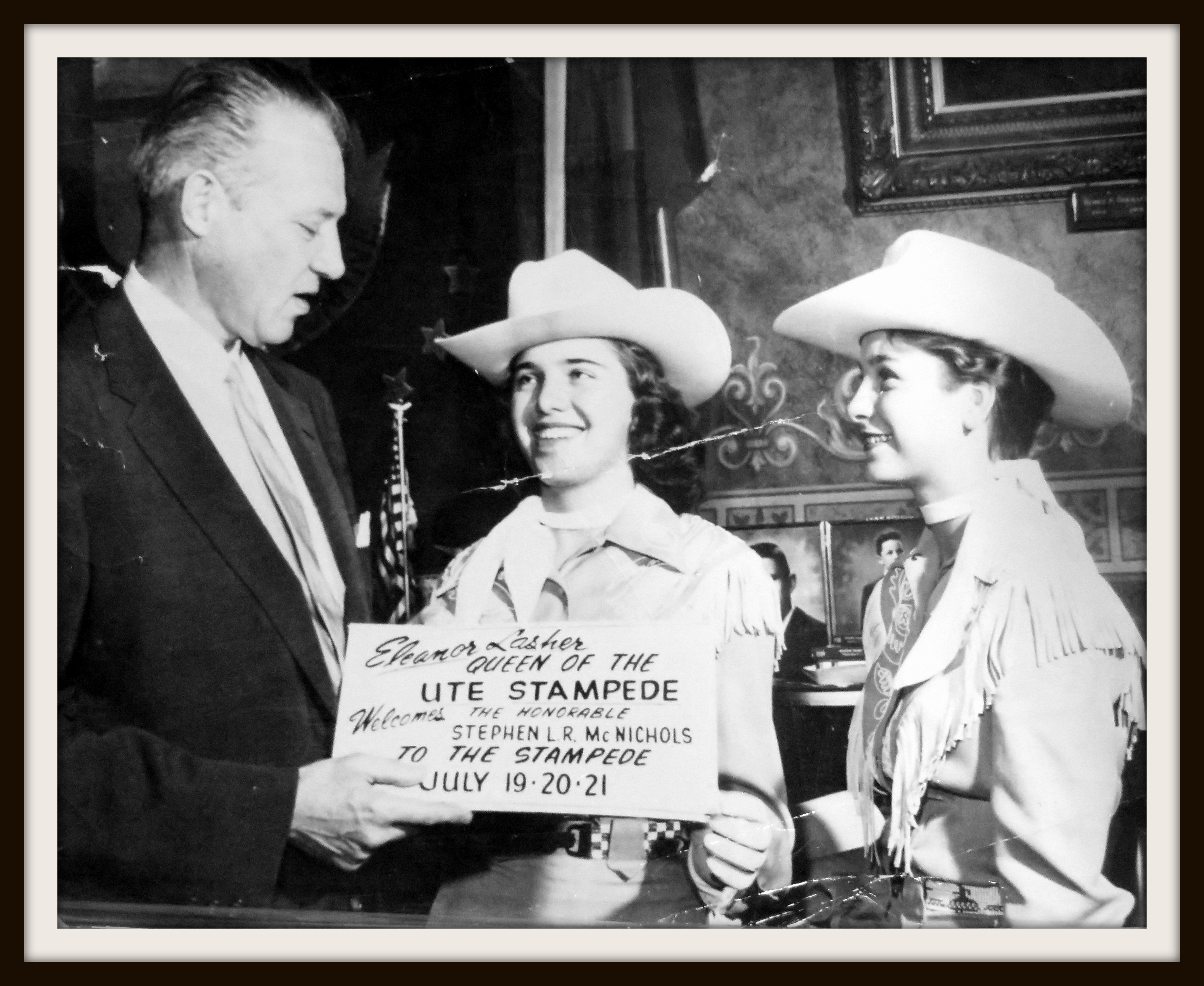 n 1957, Eleanor Lasher, Queen, with Gov McNichols