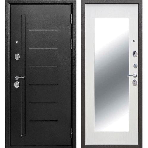 Дверь входная металлическая Троя Серебро MAXI 10 см с зеркалом