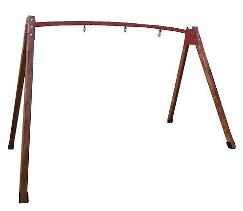 Качельная балка металлическая с деревянными ногами