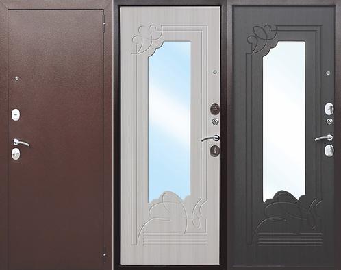 Дверь входная металлическая Ampir медный антик с зеркалом