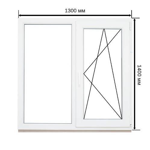 Двустворчатое окно ПВХ 1300х1400мм