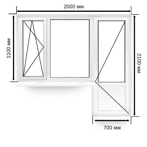 Балконный блок ПВХ 2000х2100мм с дополнительным окном