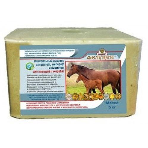 Лизунец солевой для лошадей с биотином и селеном 5 кг