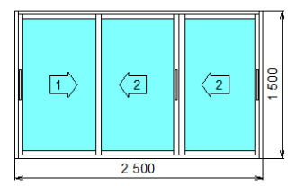 Окно алюминиевое Provedal раздвижное трехстворчатое 2500x1500мм