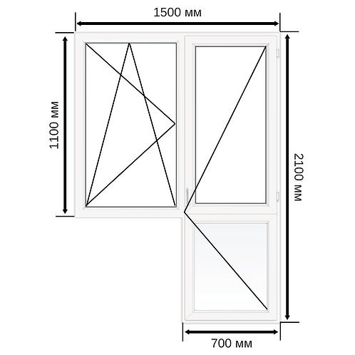 Балконный блок ПВХ 1500х2100мм