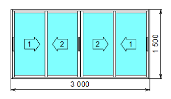 Окно алюминиевое Provedal раздвижное четырехстворчатое 3000x1500мм