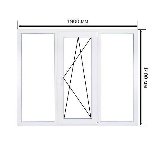 Трехстворчатое окно ПВХ 1900х1400