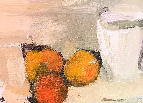 'Orange and white' (framed)