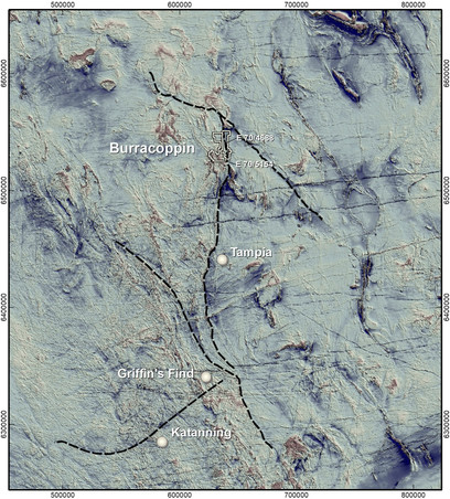 Location of Burracoppin Gold Project on aeromagnetics
