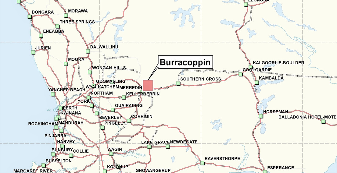 Location of Burracoppin gold Project