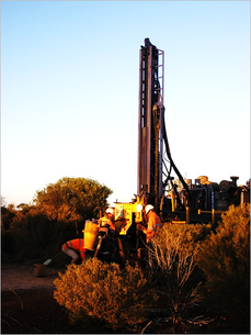 Diamond drilling of LWD002 on M27/263, Silver Swan North Project in November 2010 by Lawson Gold Ltd