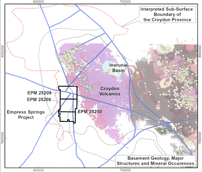 Structural architecture of the Croydon district demonstrating major intersecting structures in northern EPM and distribution of gold, silver and tin mineralisation (after Hronsky 2017)