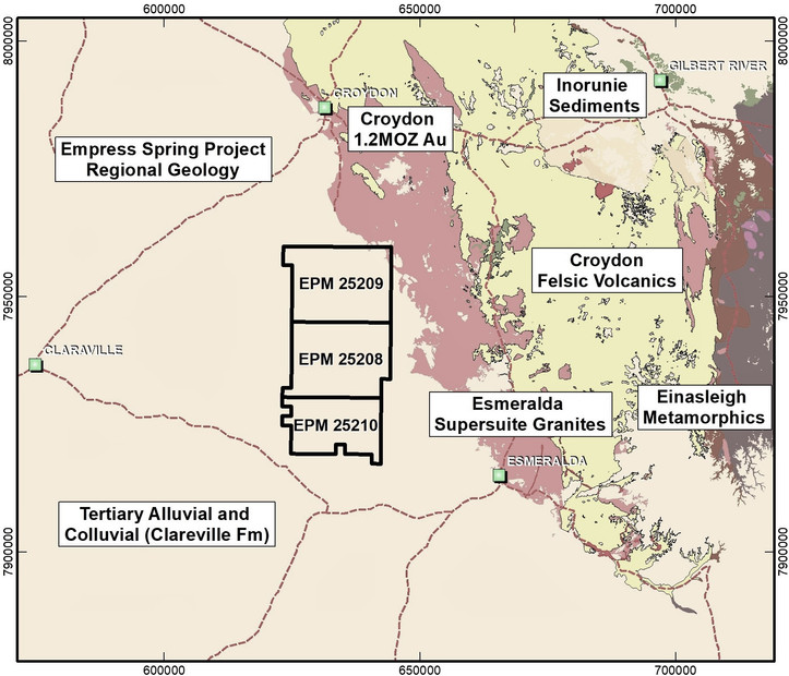 District Geology of the Empress Springs Gold Project Area
