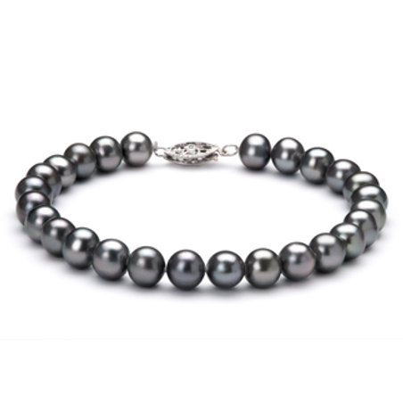 6-7mm AA Quality Freshwater Cultured Pearl Bracelet in Black