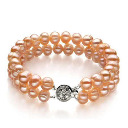 6-7mm A Quality Freshwater Cultured Pearl Bracelet in Evelina Pink