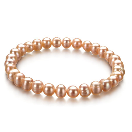 6-7mm A Quality Freshwater Cultured Pearl Bracelet in Bliss Pink