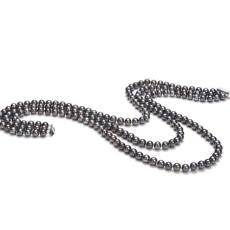 6-7mm AA Quality Freshwater Cultured Pearl Necklace in Aline Black