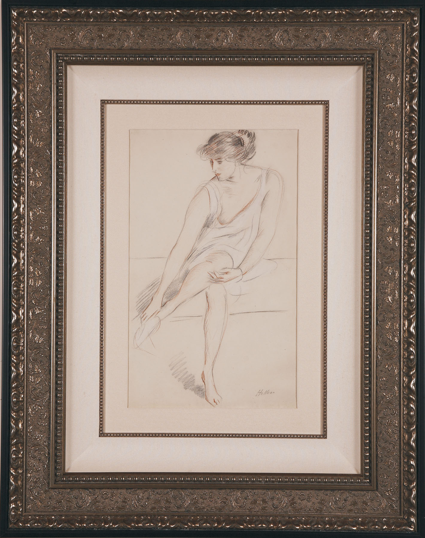"""Helleu """"Jeune Femme Assise"""" drawing"""