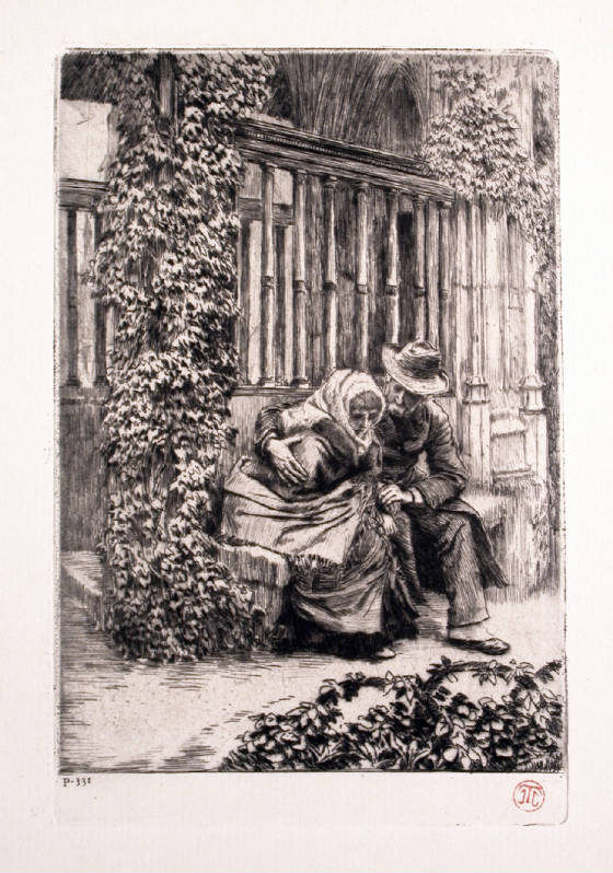 "Tissot ""Renee and Father on Porch"""