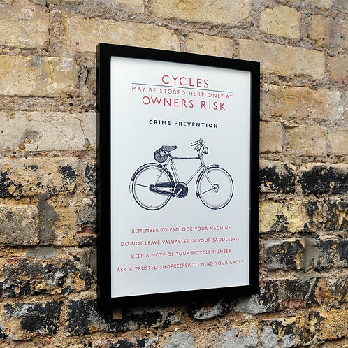 Framed Bicycle Safety Wall Art