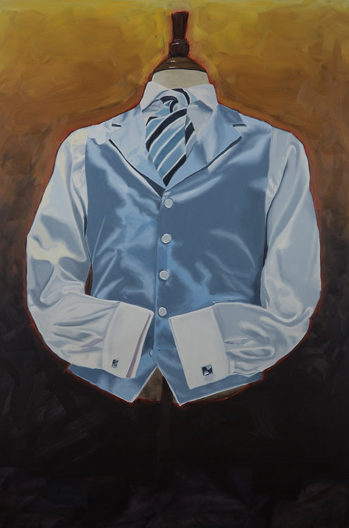 THE LAST BUTTON - Original Oil on Panel SOLD