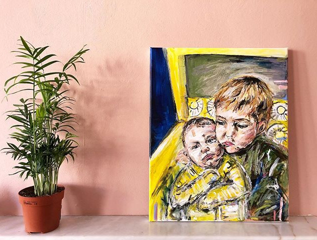 B R O T H E R S - Acrylic and oil pastel on canvas