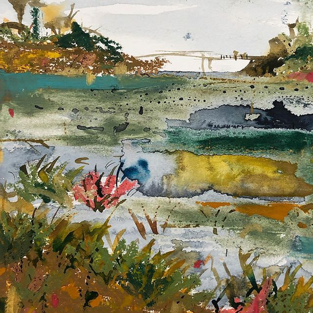 Cosmeston - Watercolour, ink and oil pastel on paper