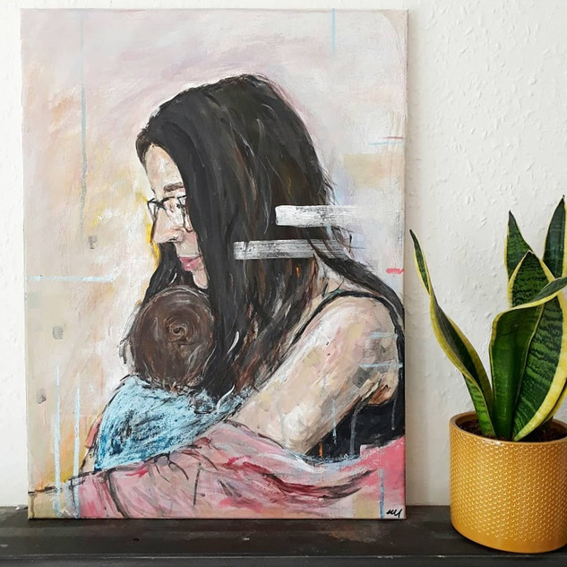 Post partum - Arylic and oil pastel on canvas