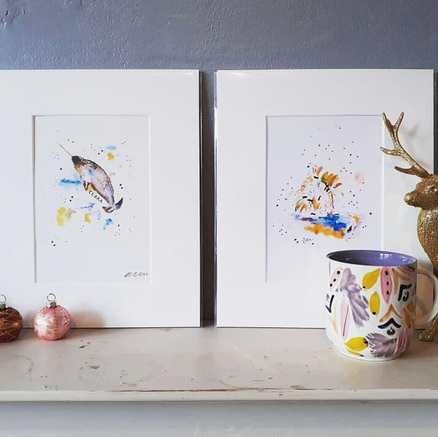 Narwhal and Cat Prints