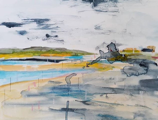 Ogmore 2 - Watercolour and oil pastel on paper