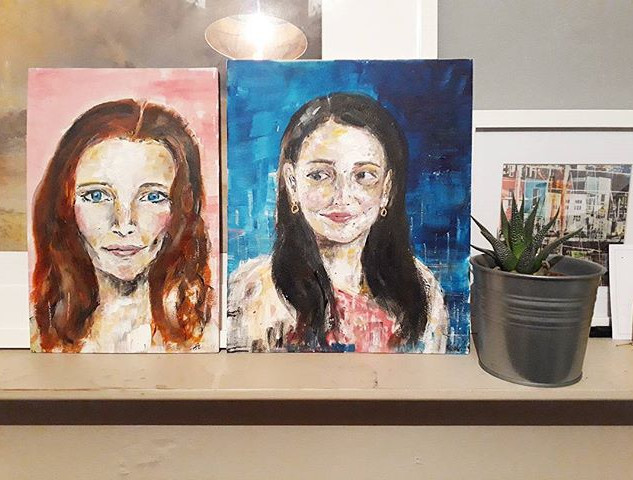 Morfydd and Self Portrait