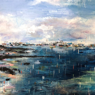 View from the Pier - Acrylic and chalk on canvas