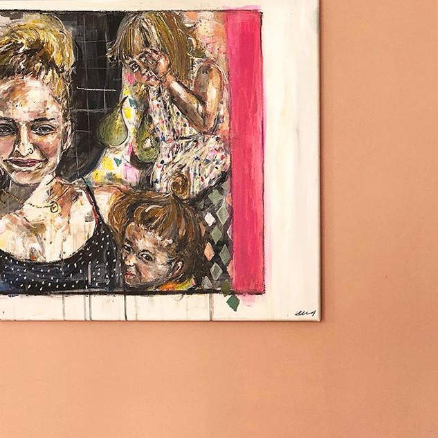 Sophie, Lyra and Etta - Acrylic and oil pastel on canvas