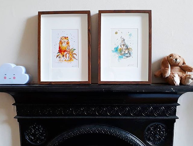 Framed prints -Lion and Wolf (personalised)