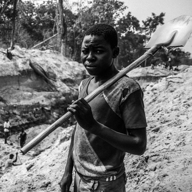 Orphaned boy forced to work in artisanal diamond mine