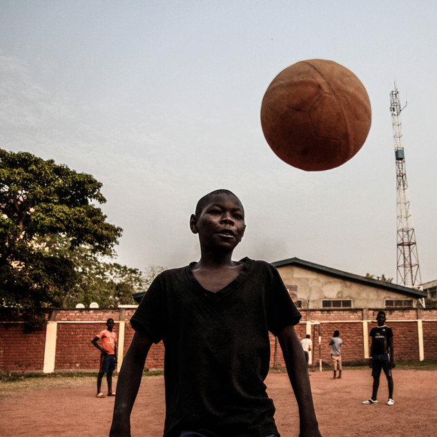 Street kids play at safe house in Bangui