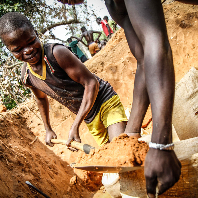 Young boys forced to work in artisanal diamond mine