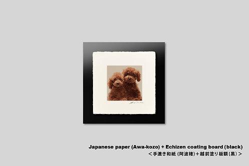手漉き和紙,写真,犬,仔犬,ペット,トイプードル,正方形,和室,動物,インテリアフォト,かわいい,アートフレーム,壁掛け,壁飾り,装飾,オリジナルプリント,フォトフレーム,プレゼント